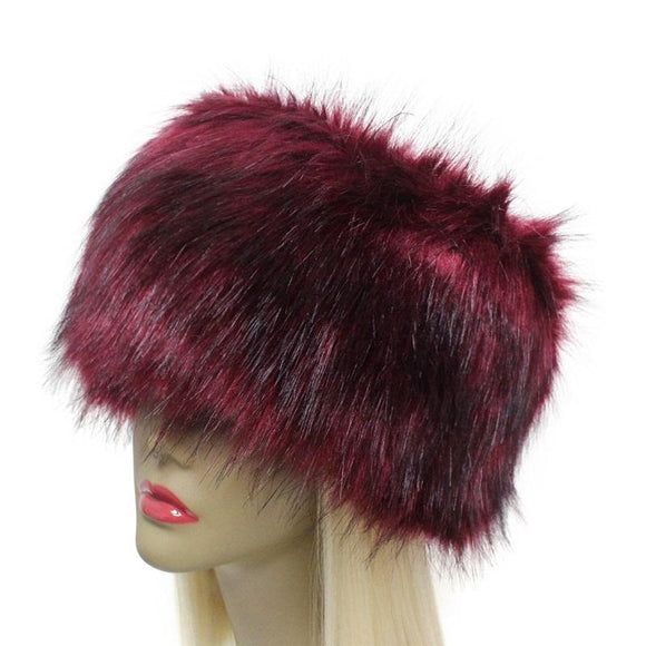 BURGUNDY FAUX FUR RUSSIAN STYLE HAT ( 2451 )