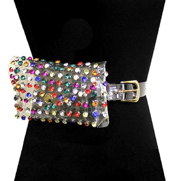 CLEAR CRYSTAL MULTI COLOR STONE BELT BAG ( 2526 GCRMLT ) - Ohmyjewelry.com