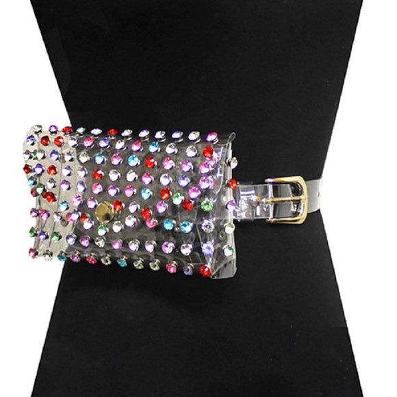 CLEAR CRYSTAL LIGHTER MULTI COLOR STONE BELT BAG ( 2526 GCRPMT ) - Ohmyjewelry.com