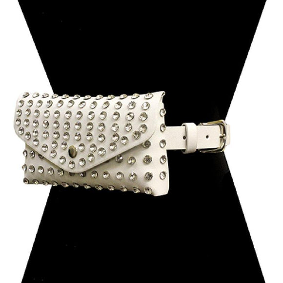 WHITE CRYSTAL FAUX LEATHER CLEAR COLOR STONE BELT BAG ( 2526 WT ) - Ohmyjewelry.com