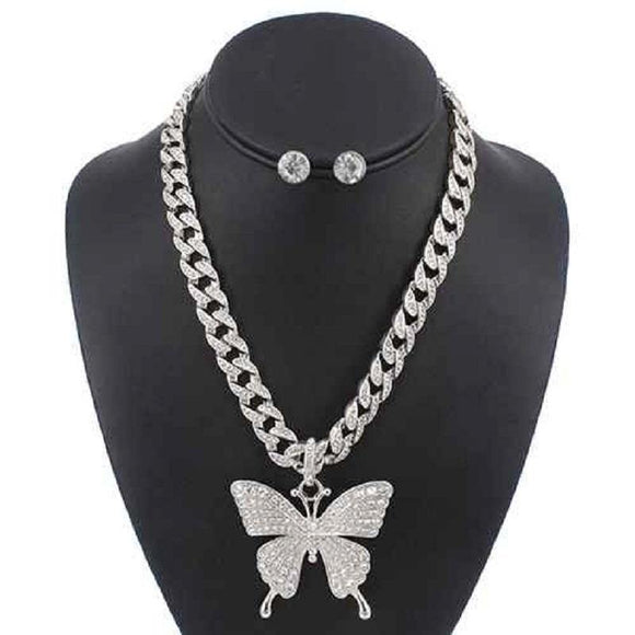 LAYER SILVER NECKLACE SET BUTTERFLY PENDANT CLEAR STONES ( 5086 )