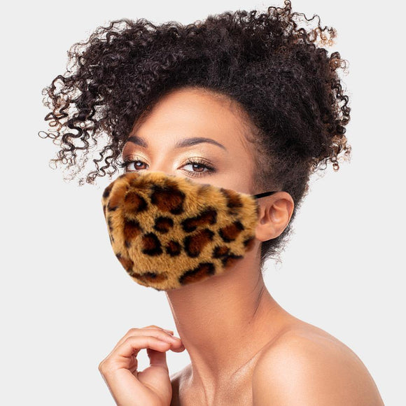 BROWN LEOPARD PRINT MASK FASHION SHAGGY FAUX FUR ( 2665 LEO ) - Ohmyjewelry.com