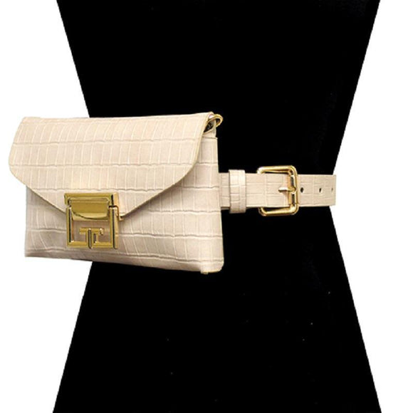BEIGE FAUX ALLIGATOR BELT BAG WITH GOLD ACCENTS ( 2698 BE ) - Ohmyjewelry.com
