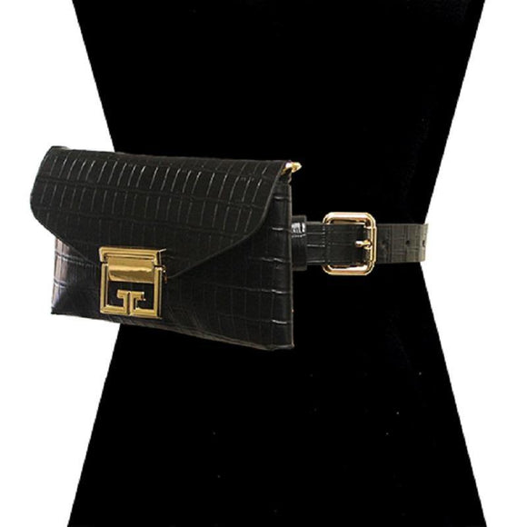 BLACK FAUX ALLIGATOR BELT BAG WITH GOLD ACCENTS ( 2698 BK ) - Ohmyjewelry.com