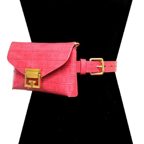 PINK FAUX ALLIGATOR BELT BAG WITH GOLD ACCENTS ( 2698 PK ) - Ohmyjewelry.com
