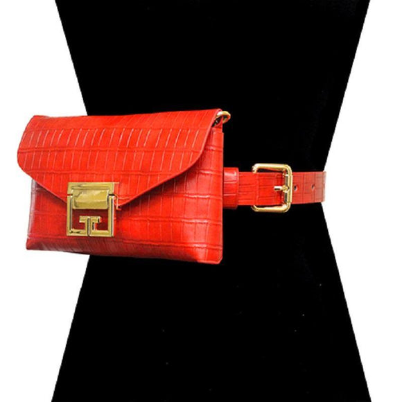 RED FAUX ALLIGATOR BELT BAG WITH GOLD ACCENTS ( 2698 RED ) - Ohmyjewelry.com