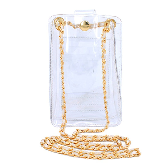 Clear See Through Wallet / Phone Holder with Chain ( 2127 WTCLR )