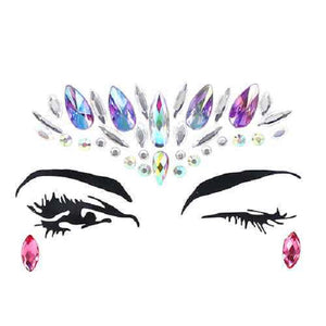 Teardrop and Marquise Iridescent Stone Jewelry Facial Stickers