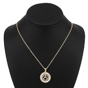 Gold with Clear Stone Initial A Charm Necklace ( 3000 )