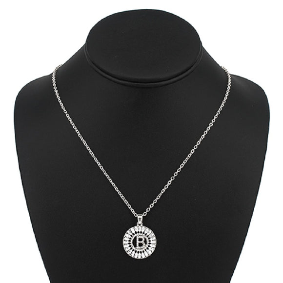 Silver with Clear Stone Initial B Charm Necklace ( 3000 )