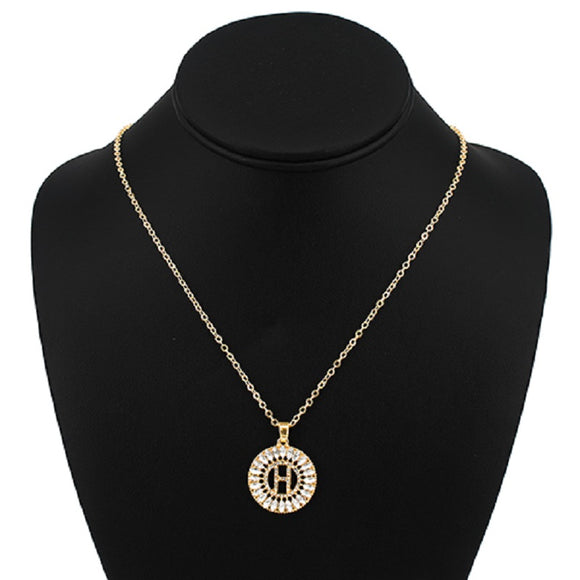 Gold with Clear Stone Initial H Charm Necklace ( 3000 )