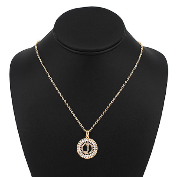 Gold with Clear Stone Initial J Charm Necklace ( 3000 )