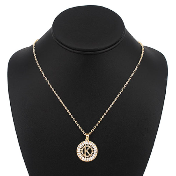 Gold with Clear Stone Initial K Charm Necklace ( 3000 )