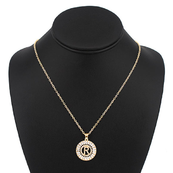 Gold with Clear Stone Initial R Charm Necklace ( 3000 )