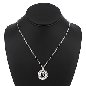 Silver with Clear Stone Initial R Charm Necklace ( 3000 )