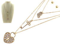 GOLD NECKLACE SET WITH HEART LOCK AND KEY ( 6264 )