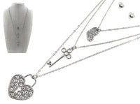 SILVER NECKLACE SET WITH HEART LOCK AND KEY ( 6264 )