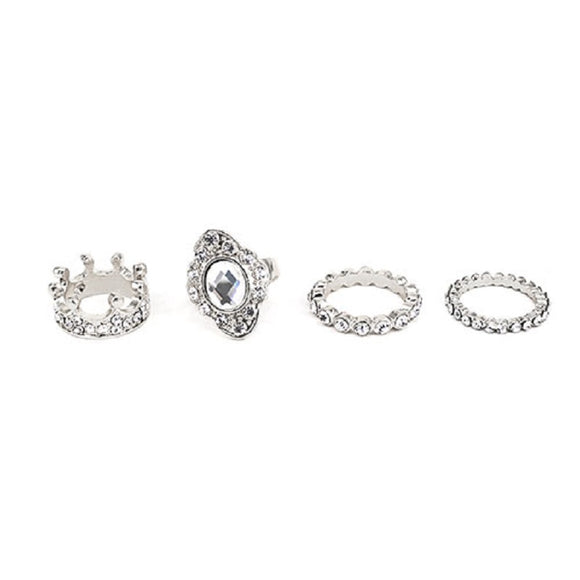 4 RING SET WITH CLEAR STONES SIZE 7 ( 7001 )