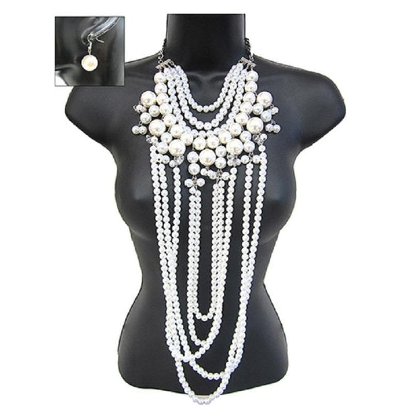 LONG SILVER WHITE PEARL NECKLACE SET ( 3107 RDWHT ) - Ohmyjewelry.com