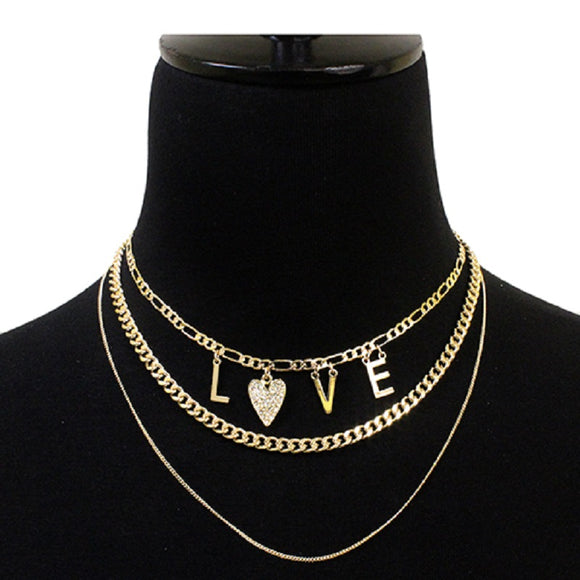 LAYERED GOLD NECKLACE WITH LOVE CHARMS HEARTS ( 5044 )