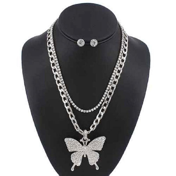 2 LAYER SILVER NECKLACE SET BUTTERFLY CLEAR STONES ( 5085 )