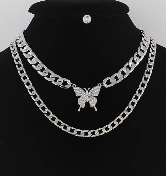 SILVER NECKLACE SET BUTTERFLY DESIGN ( 5087 )