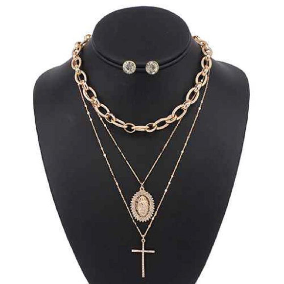 3 LAYER GOLD RELIGIOUS NECKLACE LAYERED SET ( 5088 )