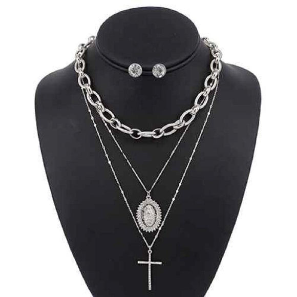3 LAYER SILVER RELIGIOUS NECKLACE LAYERED SET ( 5088 )