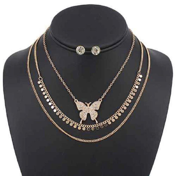 3 LAYER GOLD RHINESTONE BUTTERFLY NECKLACE SET ( 5092 )