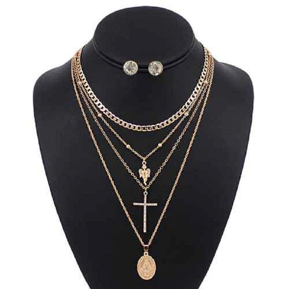 3 LAYER GOLD RELIGIOUS NECKLACE LAYERED SET ( 5097 )