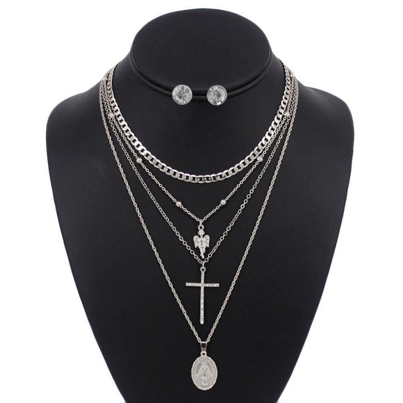 3 LAYER SILVER RELIGIOUS NECKLACE LAYERED SET ( 5097 )