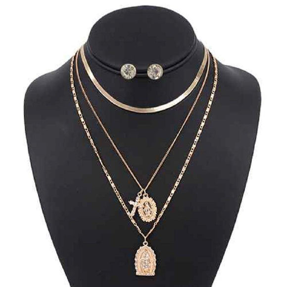 3 LAYER GOLD RELIGIOUS NECKLACE LAYERED SET ( 5098 )