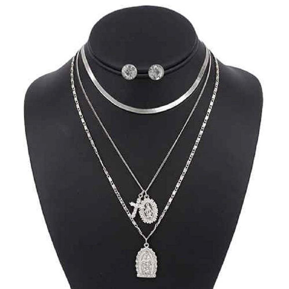 3 LAYER SILVER RELIGIOUS NECKLACE LAYERED SET ( 5098 )