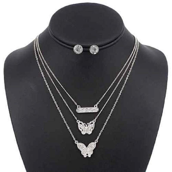 3 LAYER SILVER RHINESTONE BUTTERFLY BAR NECKLACE SET ( 5099 )