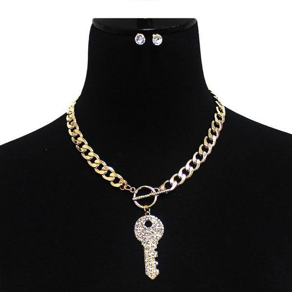 Gold Toggle Necklace with Crystal Key ( 7050 GDCLR )