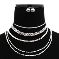 SILVER CHAINS NECKLACE WITH EARRINGS ( 7067 )