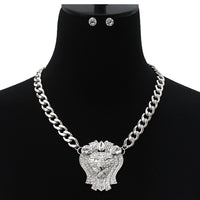 SILVER NECKLACE SET WITH LION HEAD PENDANT ( 7139 )