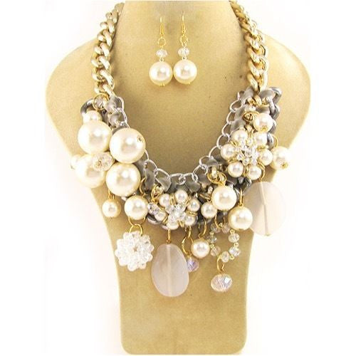 Chunky Gold and Cream Pearl Necklace Set ( 5040 GCRM )