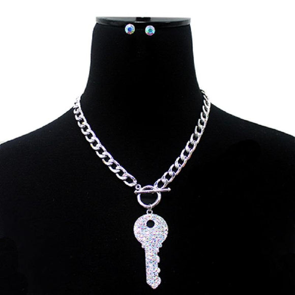 Silver Toggle Necklace with AB Crystal Key ( 3013 SAB )