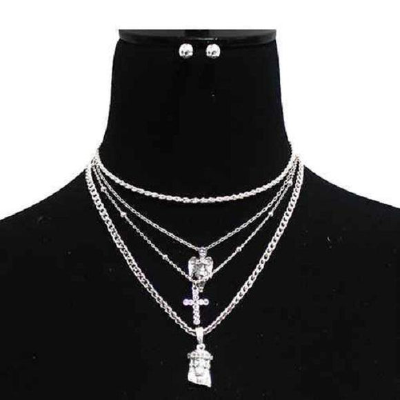 Silver 4 Layer Religious Theme Charm Necklace Set ( 3024 )