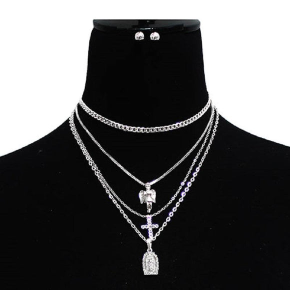 Simple Silver Layered Angel , Cross , and Mother Mary Charm Necklaces ( 3027 )