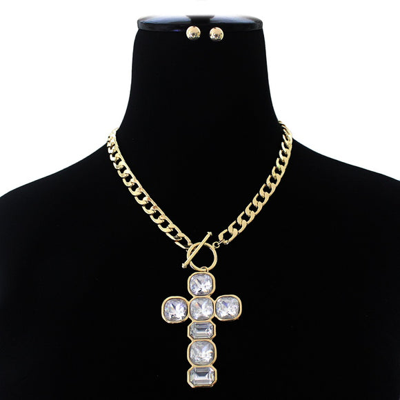 GOLD CLEAR CRYSTAL CROSS PENDANT TOGGLE NECKLACE SET ( 3059 )