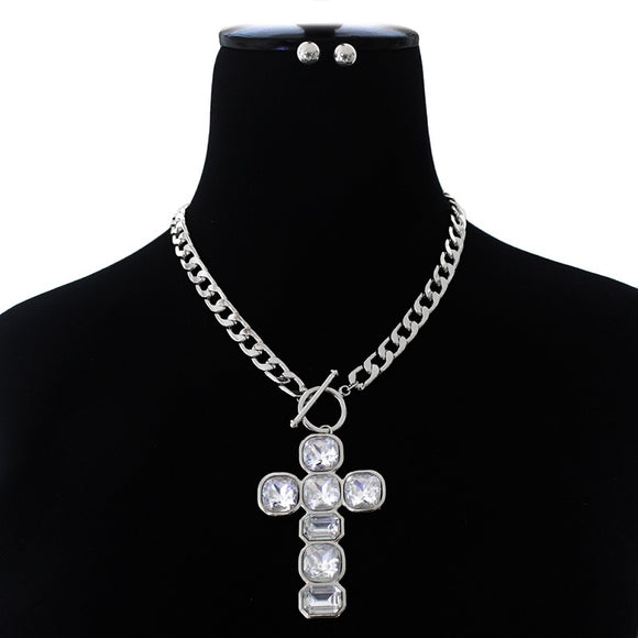 SILVER CLEAR CRYSTAL CROSS PENDANT TOGGLE NECKLACE SET ( 3059 )
