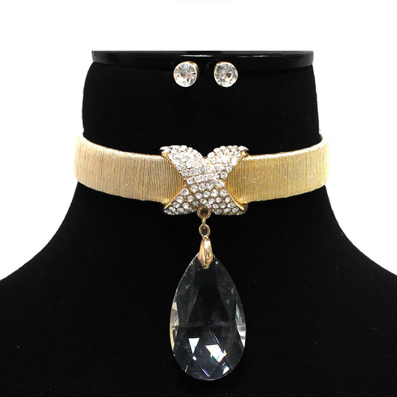 Gold Necklace with Clear Teardrop and Rhinestone Dip with Earrings ( 7113 )