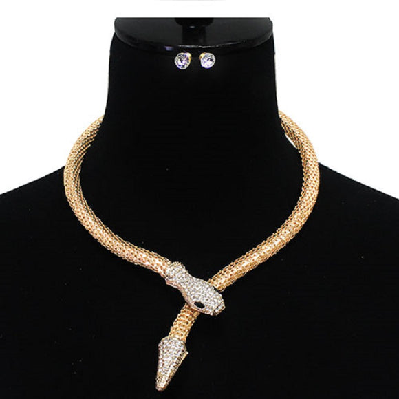 Gold Crystal Snake Head Fashion Necklace ( 7119 )