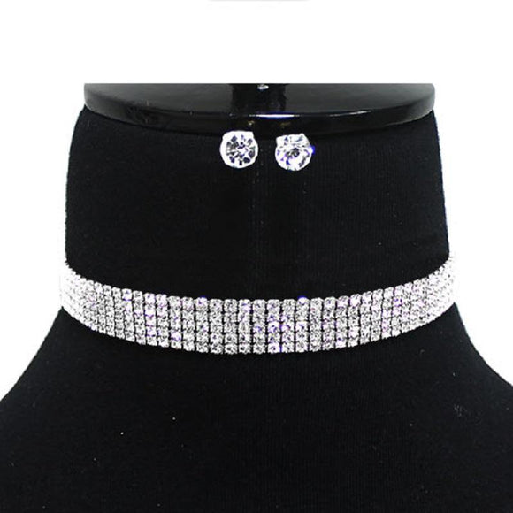 5 Line Silver Clear Rhinestone Choker with Stud Earrings ( 9006 SCL )
