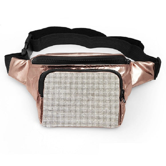 Square Rose Gold Crystal Fanny Pack ( 6044 )