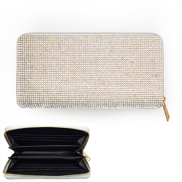 AB Rhinestone Wallet with GOLD Single Zipper ( 6050 )