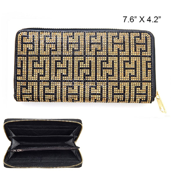 BLACK AND GOLD GREEK PATTERN WALLET ( 6121 )