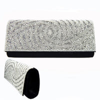 SILVER CLUTCH WITH SILVER PEARLS CLEAR STONES SWIRL ( 6134 )
